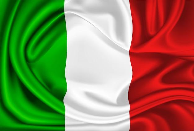 Vector mexico italië vlag realistische zijden gordijn