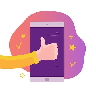 Vector mobiele app conceptontwerp met online beoordelingsthema. geef sterrenclassificatie, positief feedbackconcept. menselijke hand, smartphone. duim omhoog, sterpictogram. illustratie voor bestemmingspagina, ui-sitesjabloon.