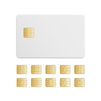 Vector mobiele mobiele telefoon sim kaart chip set geïsoleerd op wit