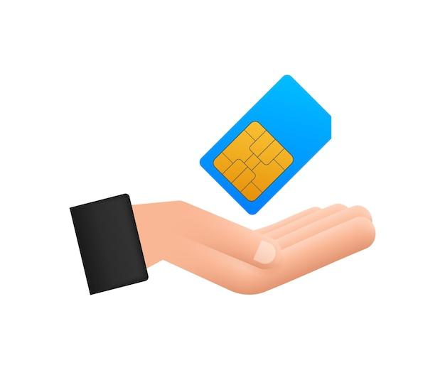 Vector mobiele mobiele telefoon sim-kaart in handen. spaander die op witte achtergrond wordt geïsoleerd.