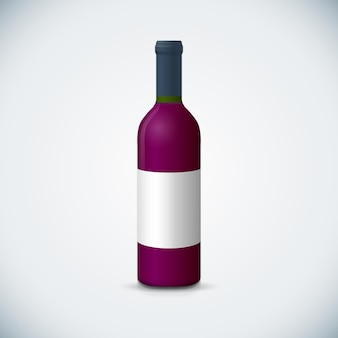 Vector mock up rode wijnglas lege wijn nauwe bootle met dop white label illustratie realistisch met schaduw sjabloonontwerp geïsoleerd op donkere achtergrond