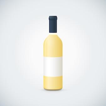 Vector mock up wit glas lege wijn sluiten bootle met dop witte label illustratie realistisch met schaduw sjabloonontwerp geïsoleerd op donkere achtergrond