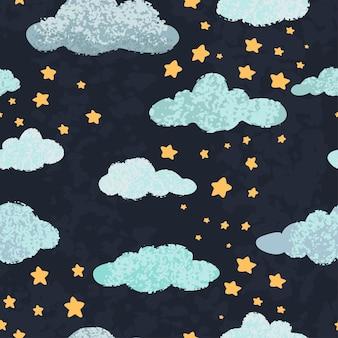 Vector modern naadloos patroon met kleurrijke hand tekenen van nachtelijke hemel