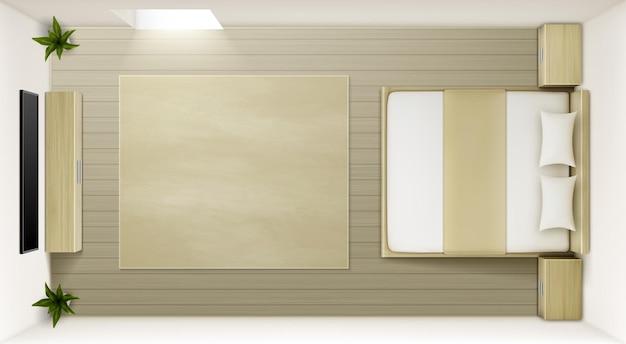 Vector moderne slaapkamer interieur bovenaanzicht