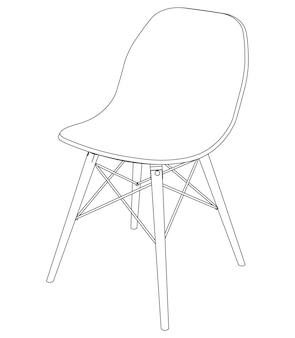 Vector moderne stoel met plastic zitting