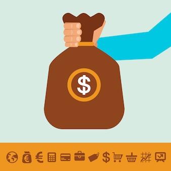 Vector moneybag en bankpictogrammen