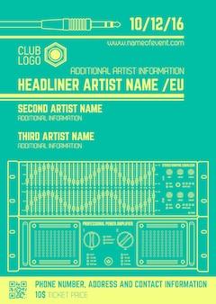 Vector monochrome lichtgroene club poster sjabloon met geluid equalizer en versterker