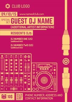 Vector monochroom rood oranje club poster sjabloon met geluid mixer en cd-draaitafel
