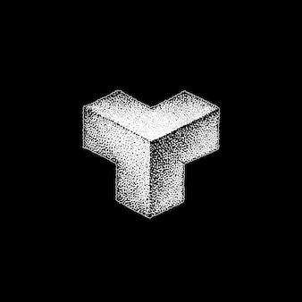 Vector monochroom witte retro dot kunst hand getekende kubusvormige driehoek geometrische volumetrische blackwork ontwerp element vintage tattoo stijl decoratie geïsoleerde vorm illustratie zwarte achtergrond