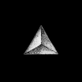 Vector monochroom witte retro stip kunst hand getrokken driehoek prisma piramide geometrische volumetrische blackwork ontwerp element vintage tattoo stijl decoratie geïsoleerde vorm illustratie zwarte achtergrond