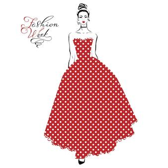 Vector mooi modieus meisje in een lange rode jurk met patroon polka dots en inscriptie fashion week
