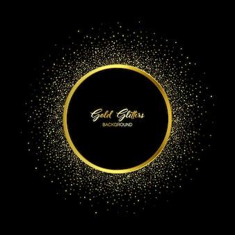 Vector mousserende gouden glitter textuur ronde frame. glanzende banner decoratief element