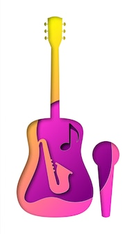Vector muziek in papier kunststijl. digitale kunst Premium Vector