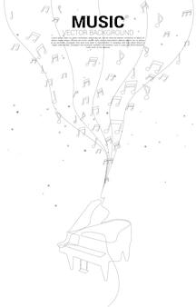 Vector muziek melodie noot dansende stroom met één regel viool. conceptenachtergrond voor klassiek lied en concertthema.
