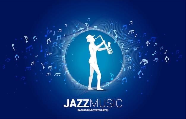 Vector muziek melodie noot stroom met man en saxofoon. conceptenachtergrond voor jazzlied en concertthema.