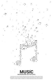 Vector muziek melodie nota dansen stroom. concept achtergrond voor lied en concert thema.