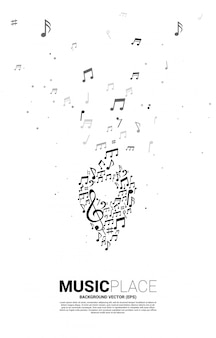Vector muziek melodie notitiepictogram pin vorm. poster sjabloon voor muziekfestival en concertlocatie.