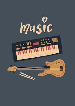 Vector muziekontwerp met synthesizer basgitaar drumstokken en belettering music Premium Vector