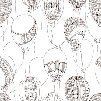 Vector naadloos abstract patroon, vliegende kleurrijke ballonnen