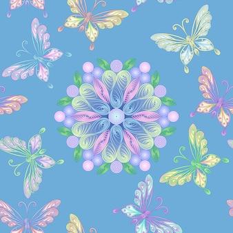 Vector naadloos bloemenkant met vlinders