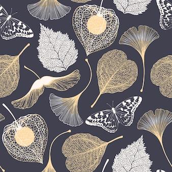 Vector naadloos bloemenpatroon met ginkgo biloba bladeren vlinders en esdoorn zaden