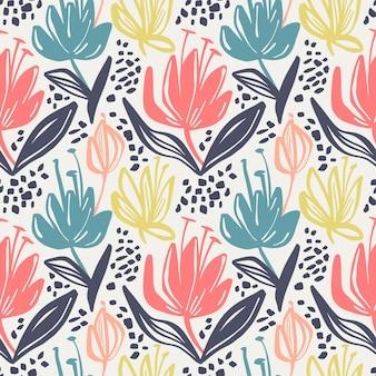 Vector naadloos bloemenpatroon met minimalistic bloemen op lichte achtergrond.