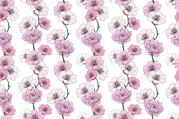 Vector naadloos geïsoleerd naturalistisch bloemenpatroon.