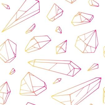Vector naadloos hand getrokken kristalpatroon