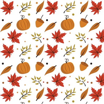 Vector naadloos met herfstbladeren en herfstelementen