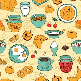 Vector naadloos ontbijtpatroon