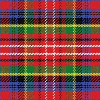 Vector naadloos patroon caledonia schotse tartan, zwart, wit, blauw; geel groen; rood