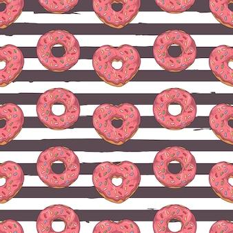 Vector naadloos patroon. geglazuurde donuts versierd met toppings, chocolade, noten.