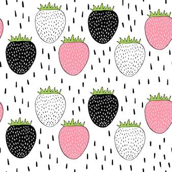 Vector naadloos patroon met aardbeien