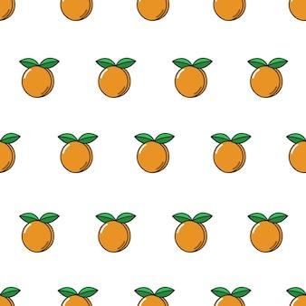 Vector naadloos patroon met abrikozen herhalend fruitpictogram op wit