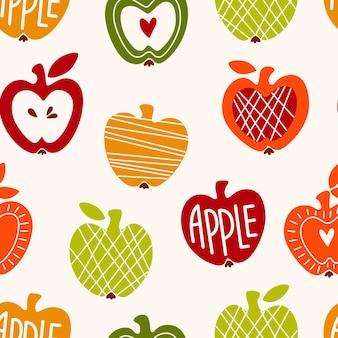 Vector naadloos patroon met abstracte schattige appels voor inpakpapier, plakboekpapier