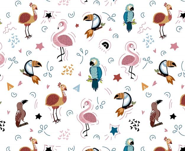 Vector naadloos patroon met afrikaanse vogels