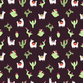 Vector naadloos patroon met alpaca lama en cactus op een donkere achtergrond leuke tekenfilmdieren