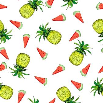 Vector naadloos patroon met ananas