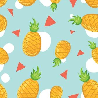 Vector naadloos patroon met ananassen