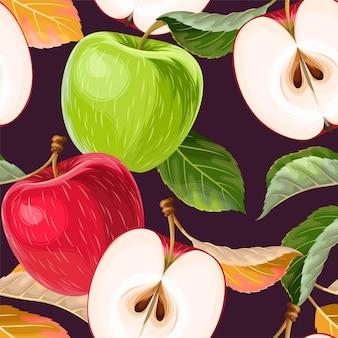 Vector naadloos patroon met appels en bladeren