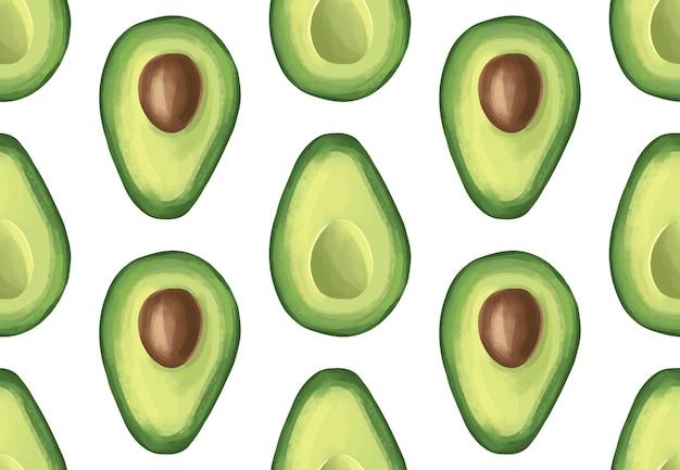 Vector naadloos patroon met avocado. tropisch exotisch fruit.