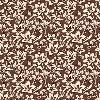 Vector naadloos patroon met beige bloemenpatroon op bruin.