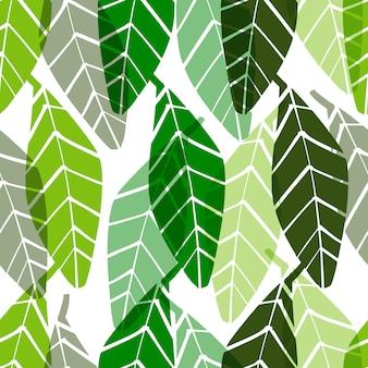Vector naadloos patroon met bladeren.