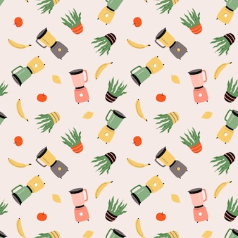Vector naadloos patroon met blender, kamerplant, banaan, citroen en appel. keukengerei, keukengerei. cartoon vlakke afbeelding voor stof, textiel, inpakpapier, behang