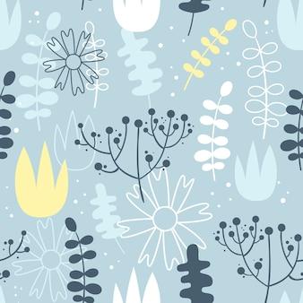 Vector naadloos patroon met bloemen. scandinavische stijl.