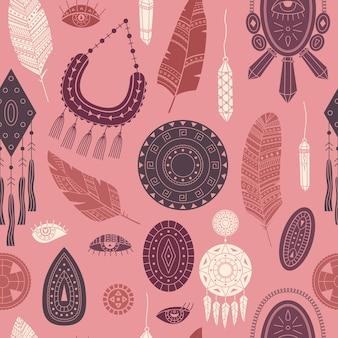 Vector naadloos patroon met boho-illustraties. boheemse achtergrond in de eenvoudige stijl.