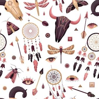 Vector naadloos patroon met boho-illustraties. boheemse achtergrond in de vlakke stijl.