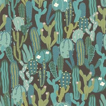 Vector naadloos patroon met cactus.