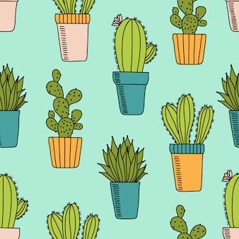 Vector naadloos patroon met cactus