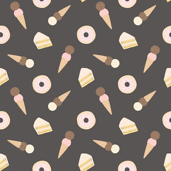 Vector naadloos patroon met cakes, donuts en roomijs.